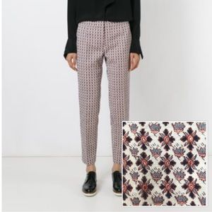 Tory Burch Cropped Jacquard Trousers, Size 4